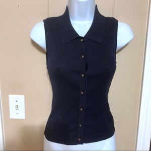 CHANEL BOUTIQUE Dark blue Ribbed Top Size EURO 40